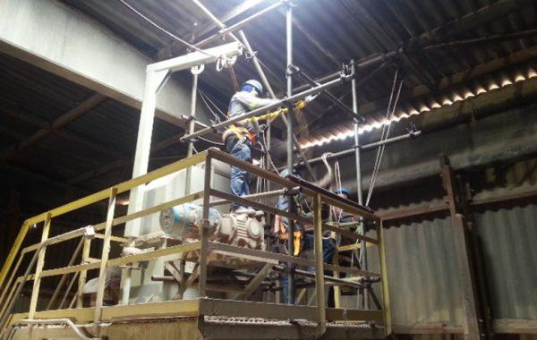 Fornecimento e Montagem de Andaime Tubo Roll no Elevador de Caneca para Reparo na Cobertura